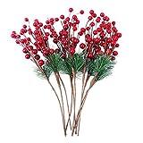 Healifty 10 Piezas de Bayas de Acebo Artificial Recoge Bayas de Navidad Bayas de Pino de Acebo para Fiestas navideñas DIY decoración de artesanías de árboles de Navidad