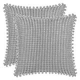 DEZENE 45x45cm Fundas de Almohada Decorativas con Pompones - Gris Cuadrado Paquete de 2 Fundas de Cojín de Granos de Maíz Grande a Rayas de Pana para Sofá de Granja