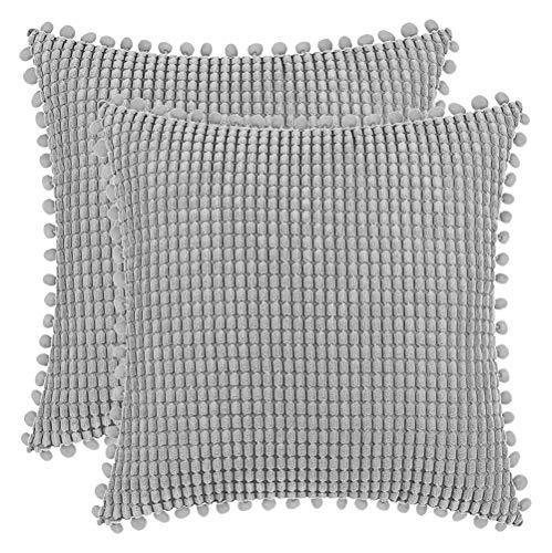 DEZENE 40x40cm Fundas de Almohada Decorativas con Pompones - Gris Cuadrado Paquete de 2 Fundas de Cojín de Granos de Maíz Grande a Rayas de Pana para Sofá de Granja