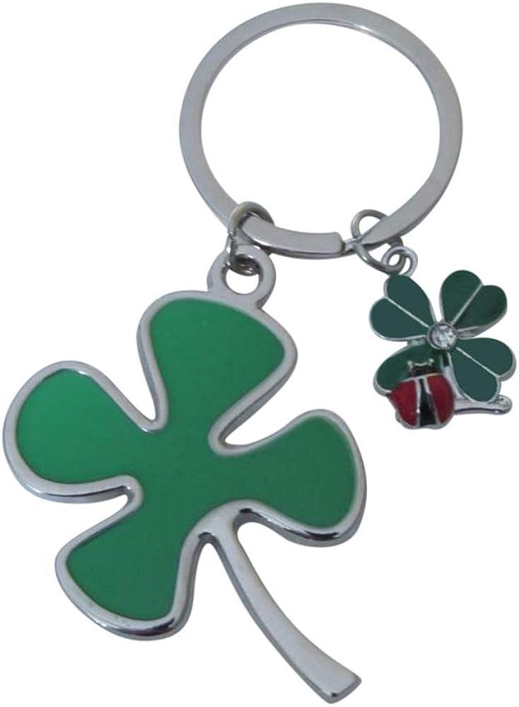 Llavero con diseño de trébol verde de cuatro hojas, diseño de mariquita, ideal como regalo de buena suerte.