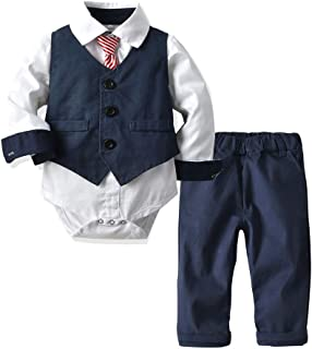 Newborn Baby Boys Gentleman Suit Set,Toddler Romper Jumpsuit Bow Tie Vest Pant Clothes 4Pcs Outfit