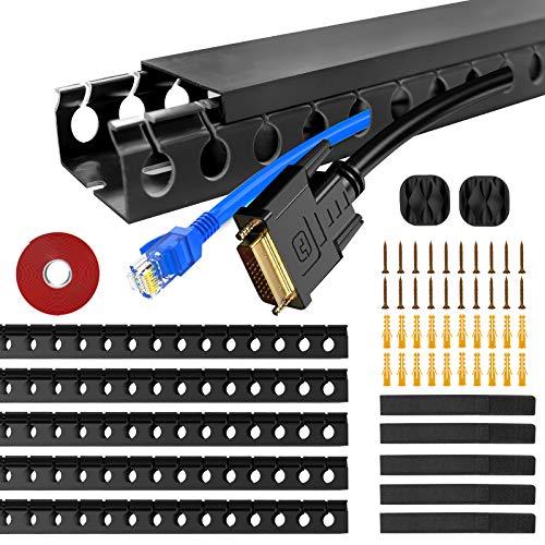 5 Stück Kabelkanäle, Flexibler Kabelkanal Organisator inkl. Zubehör Kit Kabelabdeckung Concealer Kabelschacht zum Verstecken von Kabel, 185 cm (5 x 37 cm)