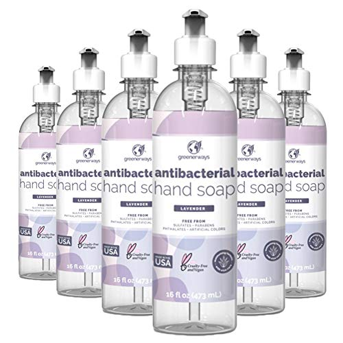 Greenerways Antibacterial Hand Soap   Made in USA   Lavender Liquid Hand Soap with Pump and Soothing Aloe Vera   Sulfate-Free, Paraben-Free, Cruelty-Free, Vegan Hand Wash   16 Fl Oz (6 Pack)