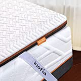 Inofia Double Memory Foam Mattress Topper with Cover and Storage Bag, 6CM Naturbrown Mattress Topper,Transform Old Mattress By Adding Dual Layer,100Night Home Trial,(135x190)