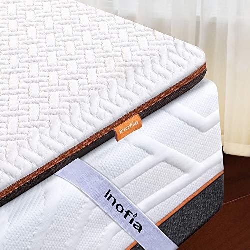 Inofia Matratzentopper 90x190 Matratzenauflage Memory Foam Topper Matratzen Topper,2cm Naturbrown Airyfoam+4cm Biogrey Reliefoam, 100 Nächte Probeschlafen,10 Jahre Garantie(90 x 190 cm)