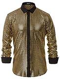 PJ PAUL JONES Men's Sequins Shirt Long Sleeve Button Shirts 70s Disco Party Costume Gold S