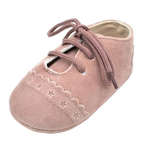 K-youth Zapatos De Bebé, Primeros Pasos para niño Zapatillas de bebé Antideslizante de Encaje hasta Zapatos 0-18 Mes (0-6Mes, Rosado)