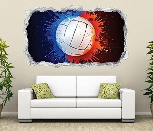 3D Wandtattoo Volleyball rot blau abstrakt Sport Wand Aufkleber Durchbruch Stein selbstklebend Wandbild Wandsticker 11N767, Wandbild Größe F:ca. 140cmx82cm