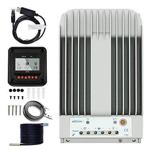 MPPT Charge Controller 40A, EPever Solar Panel Charge Controller 150V PV Negative Grounded Solar Regulator Tracer 4215BN+ Meter MT-50 + Temp Sensor for Gel Sealed Flooded Battery