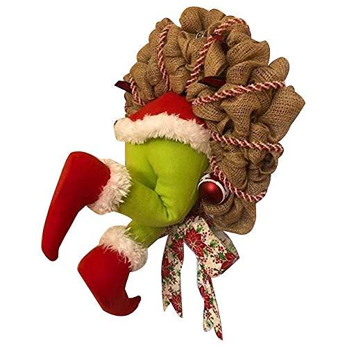Mnrkaoic Christmas Thief Stole Christmas Arpillera Corona Creatividad Exquisita Corona De Pap Noel Decoraciones Navideas para La Sala De Estar La Pared La Ventana (m)
