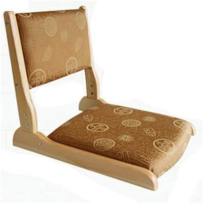 日本の木製折りたたみ式 フロアチェア,大人の子供の折りたたみの椅子のための耐久の脚の携帯用レイジーリクライニングチェアの多目的な単一-a 49x46x45cm(19x18x18inch)