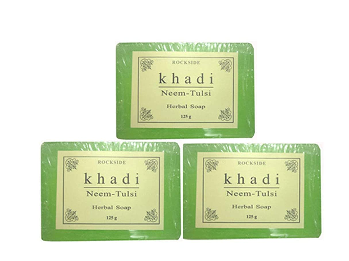 メジャー古代拒絶手作り ハーバル NT ソープ Khadi  Herbal Neem Tulsi Soap 3個セット