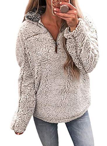 Mujer Casual Fuzzy Fleece Sherpa Cremallera Fluffy Pullover Stand Cuello Sudadera Outwear Acogedor Abrigo Peludo Tops