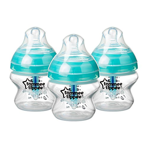 Tommee Tippee Advanced Anti-Colic Babyflaschen, brustähnlicher Sauger und Wärmesensor-Technologie, 150ml, 3er Pack, Klar