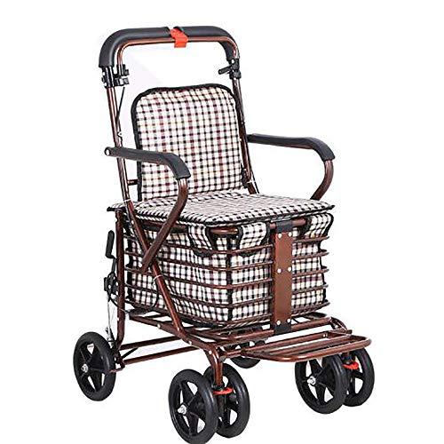 GAOXIAOMEI Carro DELE Compra,Carrito de Compras Plegable 6 Ruedas,con Asiento, Adecuado para Personas Mayores y discapacitadas,Bronce