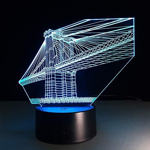 Múltiples colores San Francisco Bridge Luces decorativas de 7 colores 3D visual niños LED luz nocturna táctil usb luz nocturna regalo para niños regalo de cumpleaños Adornos