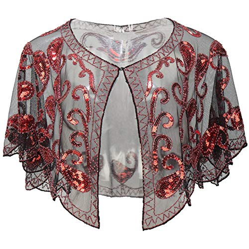 BABEYOND 1920s Shawl Wraps Sequin Beaded Evening Cape Bridal Shawl Bolero Flapper Cover Up (Red)