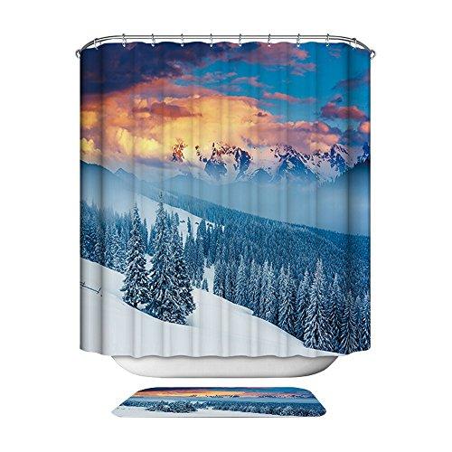 Duschvorhang für das Badezimmer Duschvorhänge aus Polyester von HarsonundJane (Schneeberg, 180 × 200 cm)