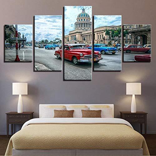 WYCQT Stampe e Quadri su tela5 Pezzi Havana Cuba Car City Paintings Home Decor HD Paesaggio Poster Taglia A