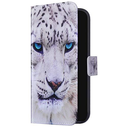 Uposao Kompatibel mit Samsung Galaxy A51 Hülle Handyhülle Bunt Retro Muster Klapphülle Leder Hülle Wallet Case Flip Schutzhülle Brieftasche Handytasche Kartenfächer Magnet,Leopard