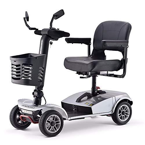 Mr Car Vehículo turístico de Scooter para Personas Mayores, vehículo eléctrico de Cuatro Ruedas para discapacitados, Bicicleta Plegable Adecuada para Personas de Mediana Edad y Personas Mayores Gray