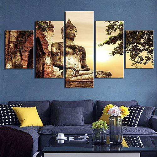 LZASMMVP HD Stampato Buddha Tela Pittura Decorazione della Casa Immagine della Parete Modulare per Living Wall Art|40x60 40x80x2 40x100 cm Senza Cornice