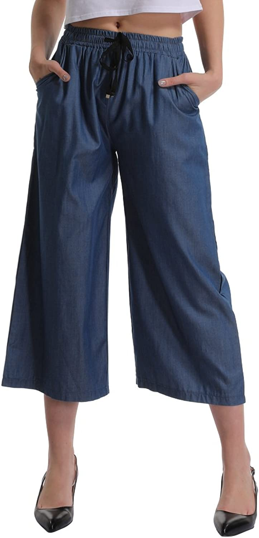 Gooket Women's Elastic Waist Wide Leg Cropped Capris Drawstring Jean Culottes Pants
