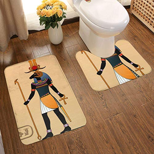 Lucky Home Religion des Antiguos Egipto (9) Juego de 2 alfombrillas de baño, alfombrilla de baño, diseño 3D individual, superabsorbente, antideslizante, gruesa, felpudo de baño, juego de contorno