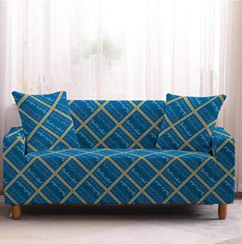 Funda de sofá de 2 Plazas Funda Elástica para Sofá Poliéster Suave Sofá Funda sofá Antideslizante Protector Cubierta de Muebles Elástica Patrón de Cuadros Azul Funda de sofá