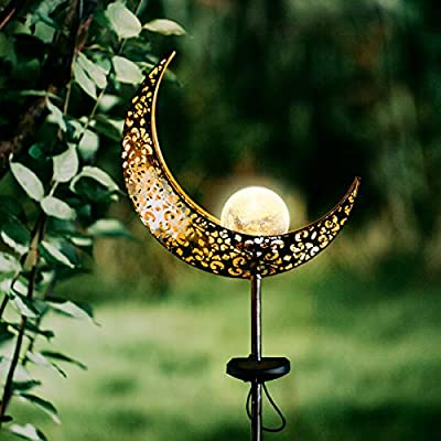 Garden Solar Lights Outdoor Landscape Path Lights,Waterproof Decorative LED Moon Crackle Glass Globe Stake Metal Lights for Walkway,Lawn,Patio or Courtyard,Warm White,Bronze