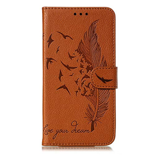 Google Pixel 4 XL Case Flip PU Leather Shockproof Wallet Phone Cases Embossed Feathers Folio Slim Fit Magnetic Protective Cover TPU Bumper with Stand Card Holder Slots for Google Pixel 4 XL brown