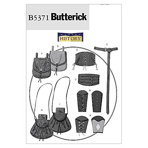 Butterick Schnittmuster Damen und Herren 5371–Historische Handgelenk Armschienen, Korsett, Gürtel & Beutel
