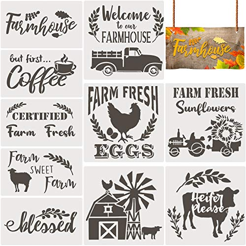 5 Pieces Plastic Stencils Welcome Sign Stencils Inspirational Word Stencils Reusable Painting Stencils for DIY Drawing Painting Spraying Wood Floors Decor Furniture Door Wall Sign