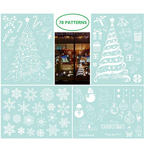 NICEXMAS Fensterdeko Schneeflocken Weihnachtsbäume Abnehmbarer PVC Wand Fenster Tür Wandaufkleber Aufkleber (78 Aufkleber)