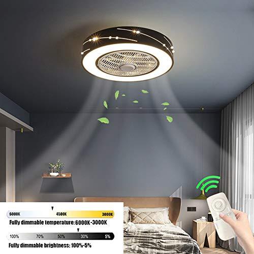 XJMM Moderne Fan-Deckenleuchte kreative Deckenleuchte LED dimmbare Deckenventilator mit Beleuchtung mit Fernbedienung Quiet Kinderzimmer Schlafzimmer Wohnzimmer Beleuchtung (Color : Schwarz)