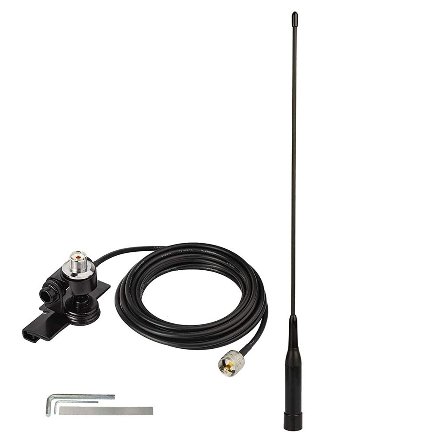 Bingfu VHF UHF 136-174MHz 400-470MHz Soft Whip CB Radio Antenna,Vehicle Car SUV Truck CB Radio Ham Radio Amateur Radio Antenna with Lip Mount Fixed Bracket UHF PL-259 Male 5m/16.5 feet RG58 Cable