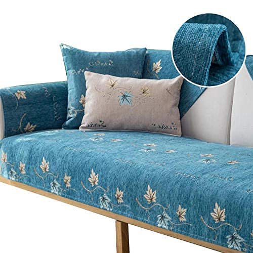 Four Seasons Funda para sofá Cojín Respaldo Reposabrazos Fundas para sofá de Chenilla Fundas para sofá de 1 2 3 4 plazas ,Azul,90x180cm