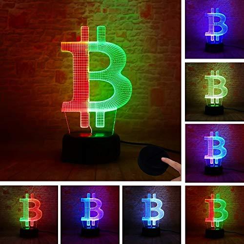 Amroe New Double Bitcoin IR Spielzeug 3D LED Nachtlicht USB Tischlampe Kinder Geburtstag Geschenk Nachtdekoration am Bett