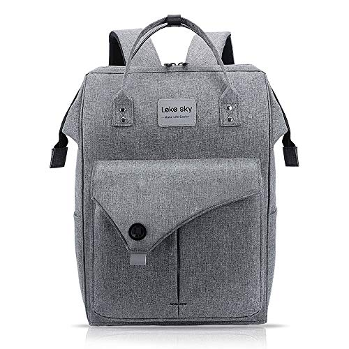 Lekesky Laptop Rucksack 15.6 Inch Computer Backpack School Bag for Travel Business College Women Men, Grey