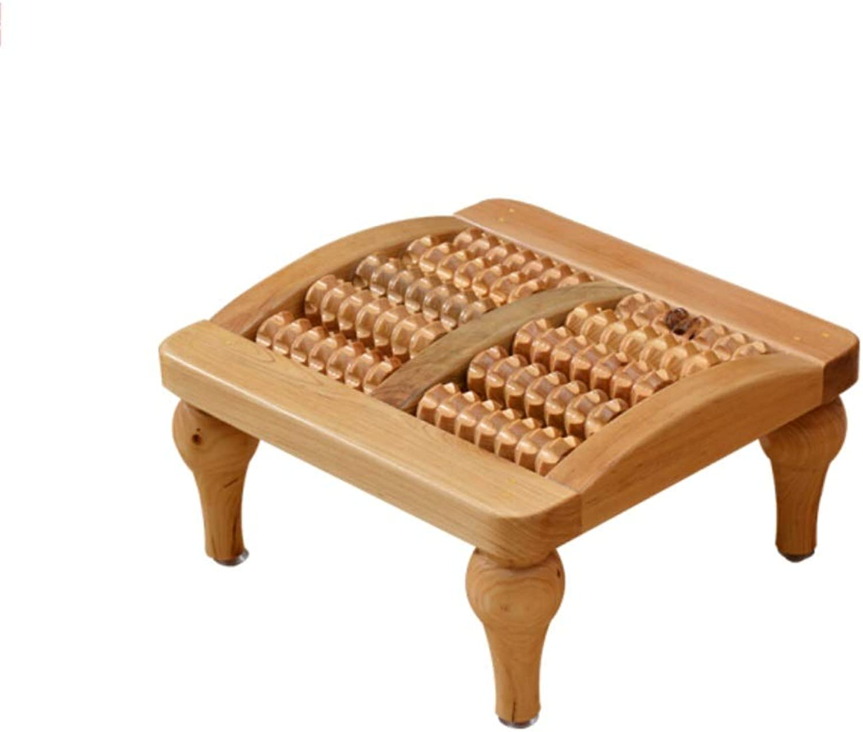 JUN Cedar Massage Stool Bathroom Step Stool Foot Massage Stool Five Rows of Pure Solid Wood Foot Massage Beads