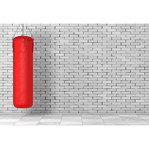 YongFoto 2,2x1,5m Polyester Foto Hintergrund Weißer Backsteinmauer Hintergrund Große rote Boxsack Fotografie Leinwand Hintergrund Partydekoration Fotostudio Hintergründe Fotoshooting