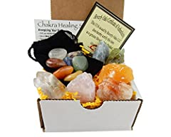 CRYSTAL HEALING ~ 6 Colorful Minerals which include: Red, Blue, Green and Orange Calcite, Rose Quartz, and Clear Quartz. CHAKRA ~ 1 Black Velvet Bag with 7 Chakra Polished Stones ~ Red Jasper, Carnelian, Citrine, Green Aventurine, Sodalite, Amethyst ...