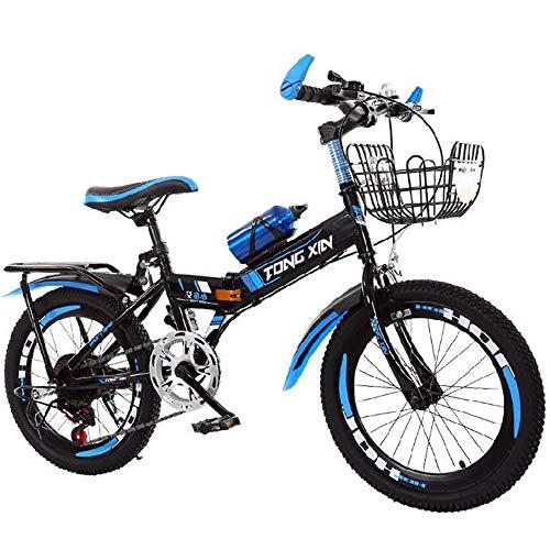 JHKGY Bicicleta De Montaña con Marco De Acero para Exteriores,Bicicleta De BMX para Niños,con Bolsa De Botella De Agua, Cesta, Asiento Trasero,para Niños Y Niñas Principiantes,Azul,18 Inches