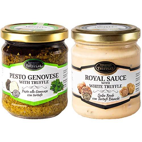 Pesto Genovese mit schwarze Trüffel (180g) Pesto alla Genovese Basilikum Natives Olivenöl und White truffle Royal Weißen Trüffel mit Sahne und Käse Trüffel Creme Delikatesse für Feinschmecker (180g)