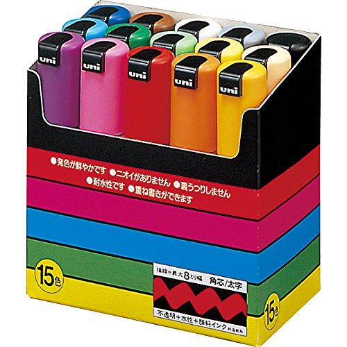 三菱鉛筆 水性ペン ポスカ 太字 角芯 15色 PC8K15C