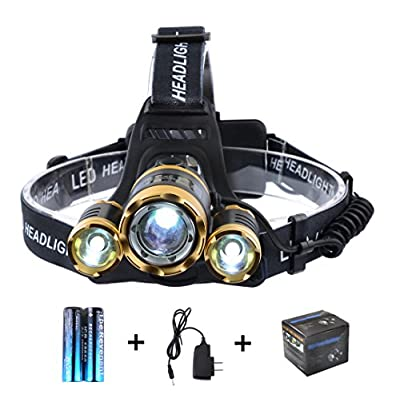 The Revenant Super Bright LED Headlamp Headlight 5000 Lumens 4 Modes 3 CREE XM-L T6 Zooomable Waterproof, 18650 Rechargeable Battery & Charger