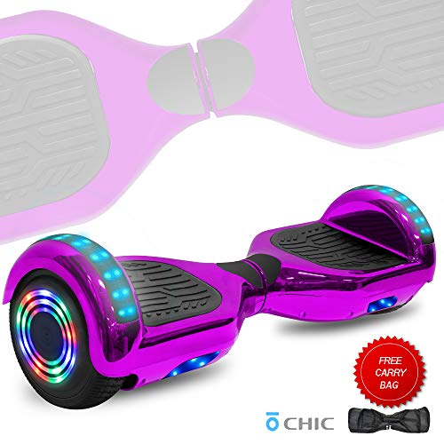 DOC Electric Hoverboard Self-Balancing Hoover Board with Built in Speaker LED Lights Wheels UL2272 Certified (Chrome Purple)