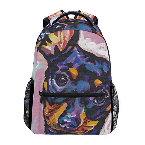 Schoolbag Pinscher Miniatura Perro Estudiante Elegante Mochila Bolso De Hombro Colegio Impreso Escuela Ligero Mochila Regalo Viaje Casual Durable Único