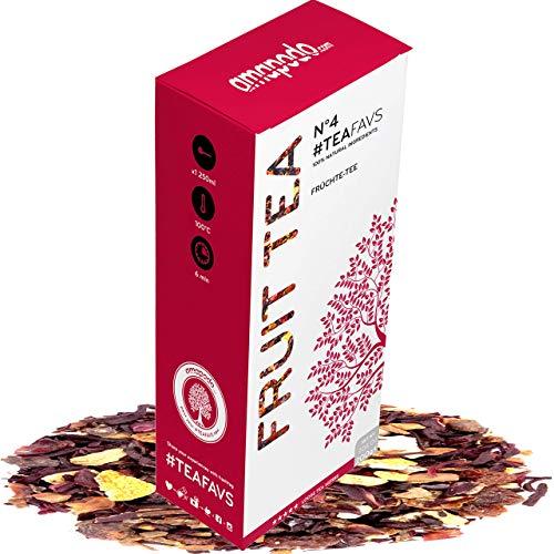 amapodo - Früchtetee 200g - Früchte Tee lose - Teemischung aus 7 Kräuter - Hibiskus, Rosinen, Hagebutten, Zimt, Nelken, Pomeranze, Ingwer - Dankeschön Geschenke