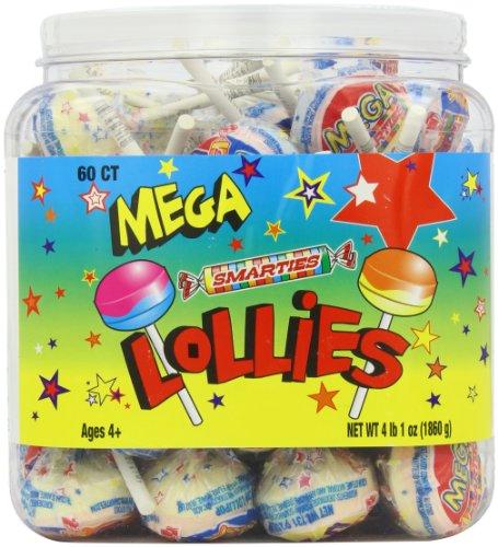 Mega Smarties Lollies, Mega, 60 Count 4 lbs 1 oz.